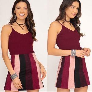 Dresses & Skirts - NEW! Burgundy Blush Color Block Stripe Mini Skirt